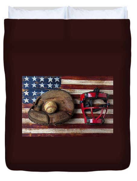 Catchers Glove On American Flag Duvet Cover by Garry Gay