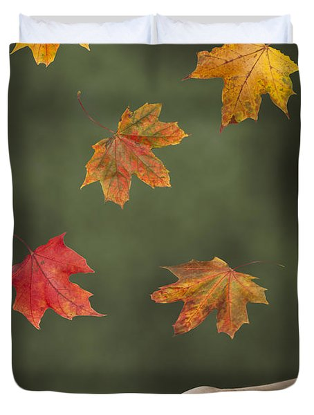 Catching Leaves Duvet Cover by Amanda Elwell
