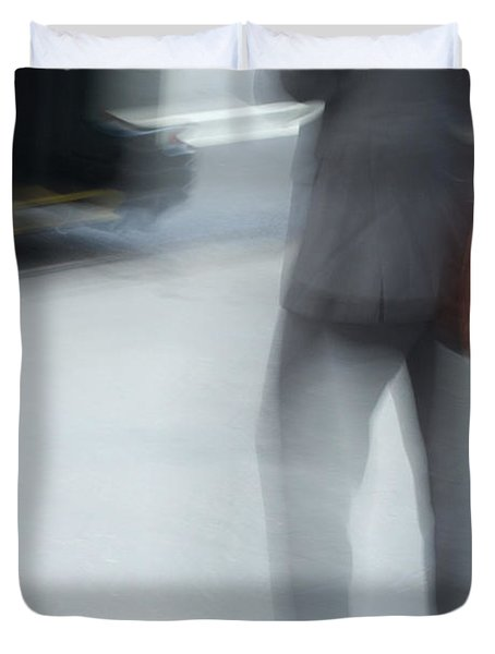 Catching The Bus Duvet Cover by Karol Livote