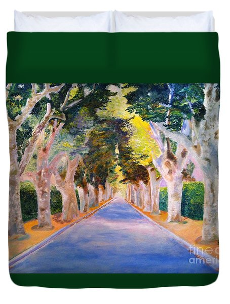 Duvet Cover featuring the painting Cathedral  by Mary K Conaboy