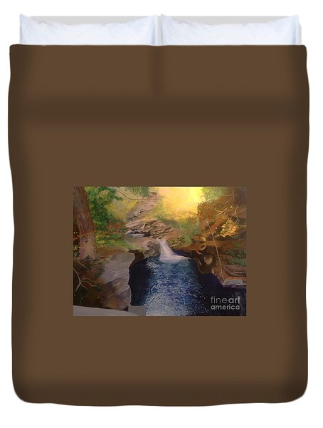 Duvet Cover featuring the painting The Dark Gorge by Mary K Conaboy