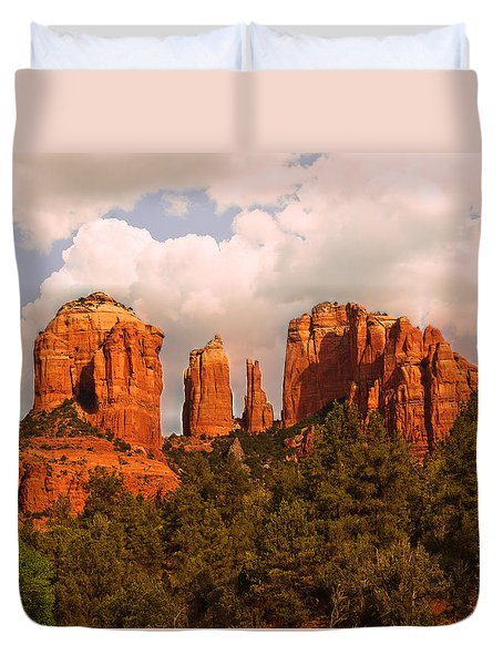 Cathedral Rock Sunset Duvet Cover by Bob and Nadine Johnston