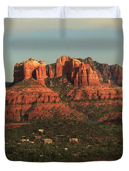 Duvet Cover featuring the photograph Cathedral Rocks In Sedona by Alan Vance Ley