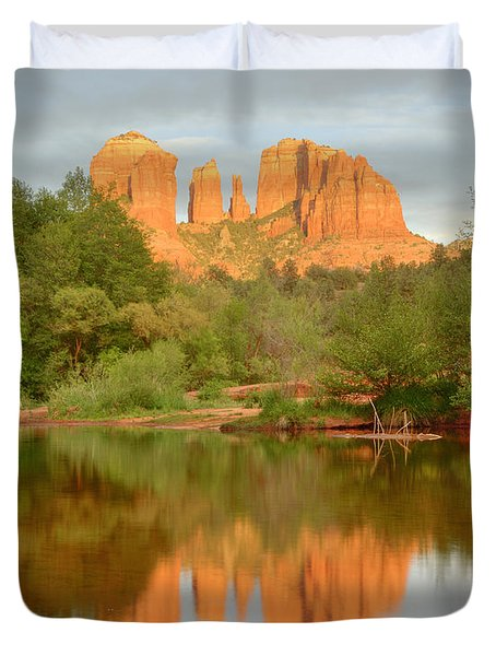 Duvet Cover featuring the photograph Cathedral Rocks Reflection by Alan Vance Ley