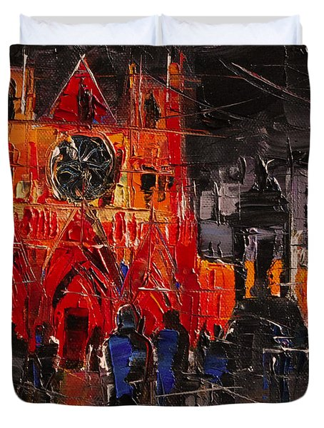Cathedral Saint Jean-baptiste In Lyon Duvet Cover by Mona Edulesco