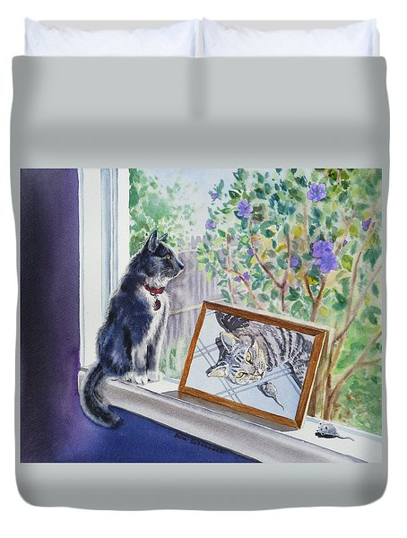 Cats And Mice Sweet Memories Duvet Cover by Irina Sztukowski