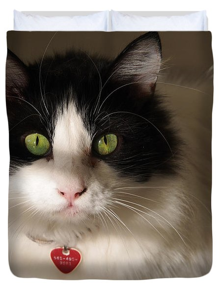 Duvet Cover featuring the photograph Cat's Eye by Karen Zuk Rosenblatt