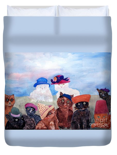 Cats In Hats Duvet Cover