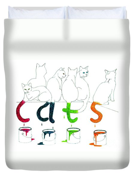 Cats With Paint Cans Duvet Cover