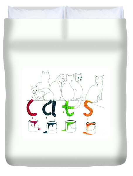 Cats With Paint Cans Duvet Cover by Patricia Overmoyer