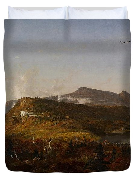 Catskill Mountain House Duvet Cover by Jasper Francis Cropsey