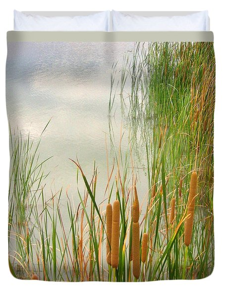 Duvet Cover featuring the photograph Cattails by Marilyn Diaz