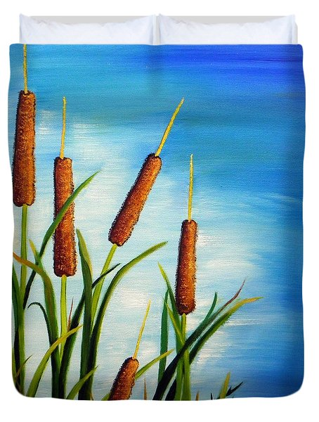 Duvet Cover featuring the painting Cattails by Shelia Kempf