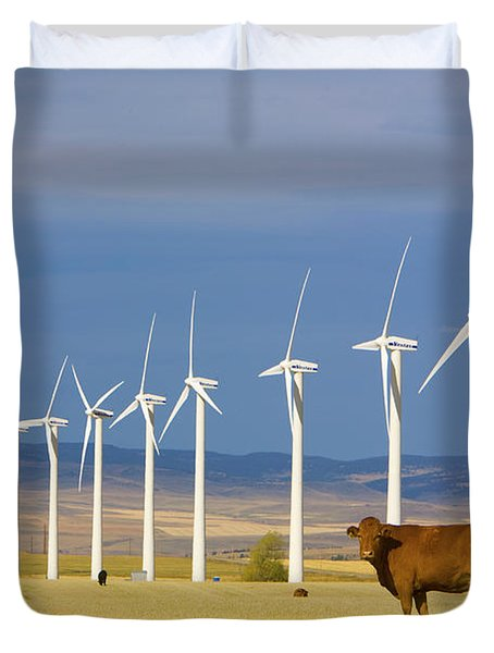 Cattle And Windmills In Alberta Canada Duvet Cover