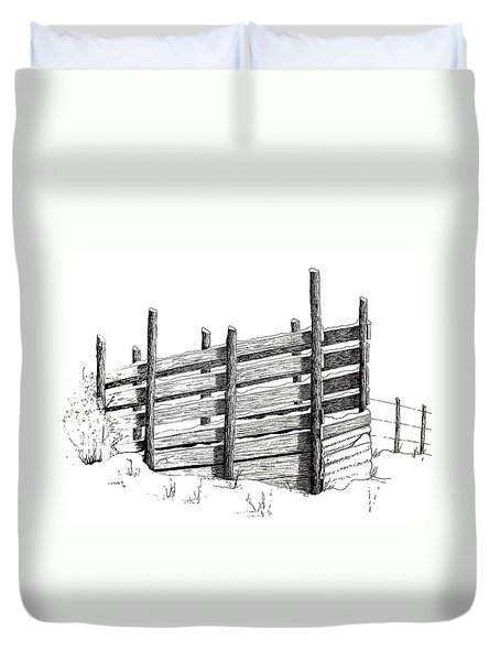 Duvet Cover featuring the painting Cattle Chute Ink by Richard Faulkner