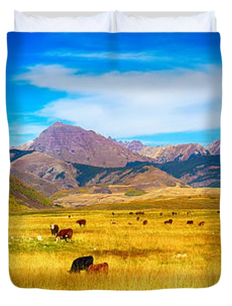 Cattle Grazing Autumn Panorama Duvet Cover by James BO  Insogna