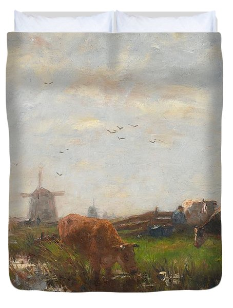 Cattle Grazing Duvet Cover by Willem Maris