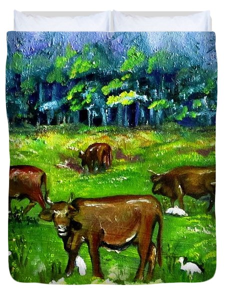 Cattle Grazing With Egrets Duvet Cover