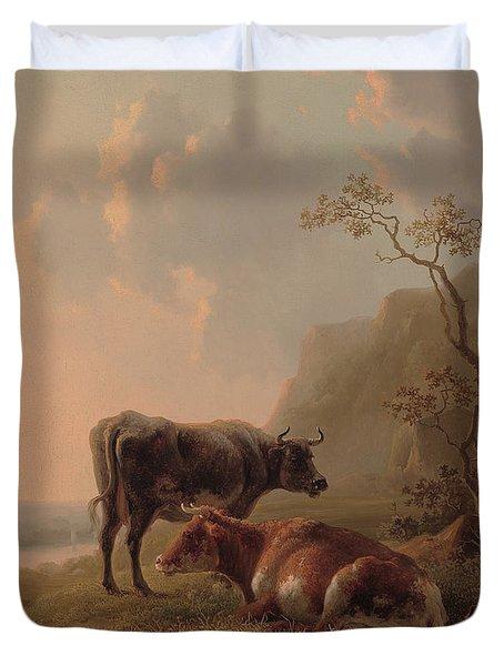 Cattle In An Italianate Landscape Duvet Cover by Jacob van Strij