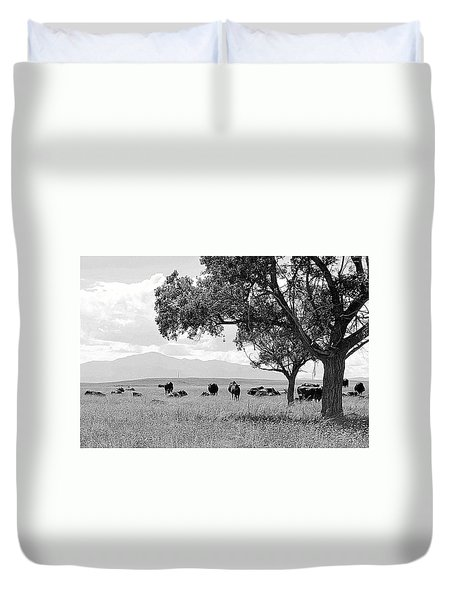 Cattle Ranch In Summer Duvet Cover by Clarice  Lakota