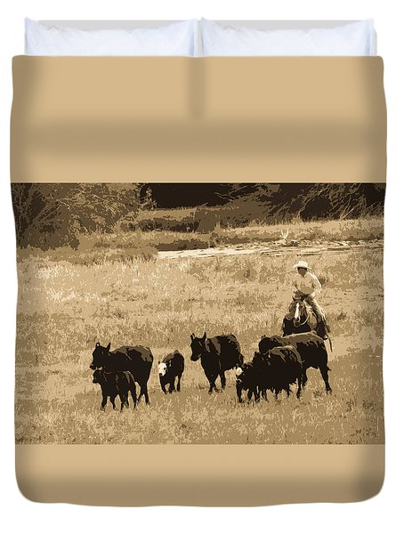 Cattle Round Up Sepia Duvet Cover by Athena Mckinzie