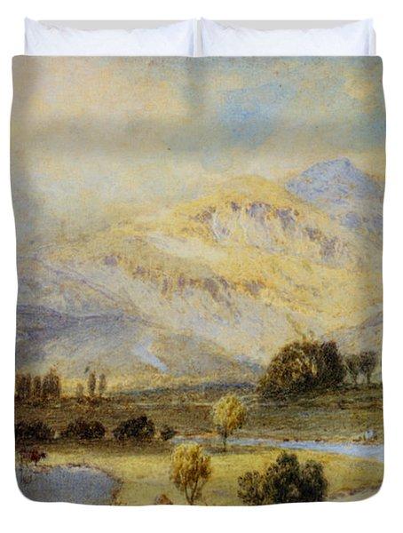 Cattle Watering Duvet Cover by Myles Birket Foster