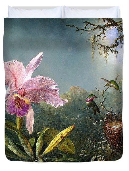 Cattleya Orchid And Three Brazilian Hummingbirds Duvet Cover by Emile Munier