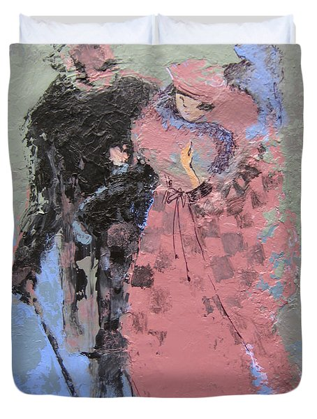 Duvet Cover featuring the painting Catwalk by Marina Gnetetsky