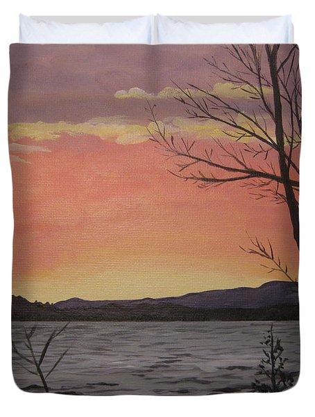 Caucomgomoc Lake Sunset In Maine Duvet Cover