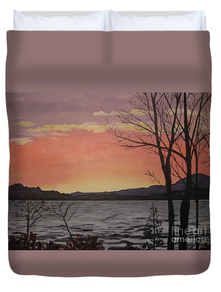 Caucomgomoc Lake Sunset In Maine Duvet Cover