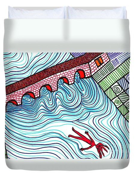 Caught In The Current Duvet Cover by Sarah Loft