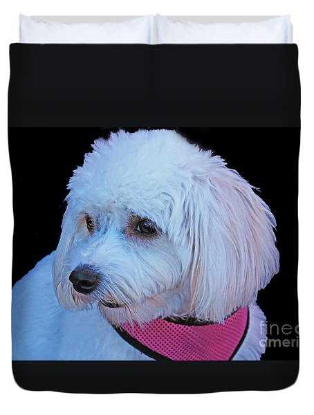 Duvet Cover featuring the photograph Cavachon by Terri Mills