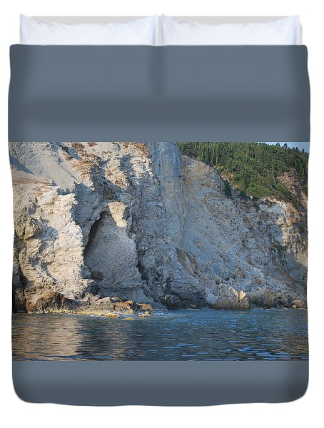 Duvet Cover featuring the photograph Cave By The Sea by George Katechis