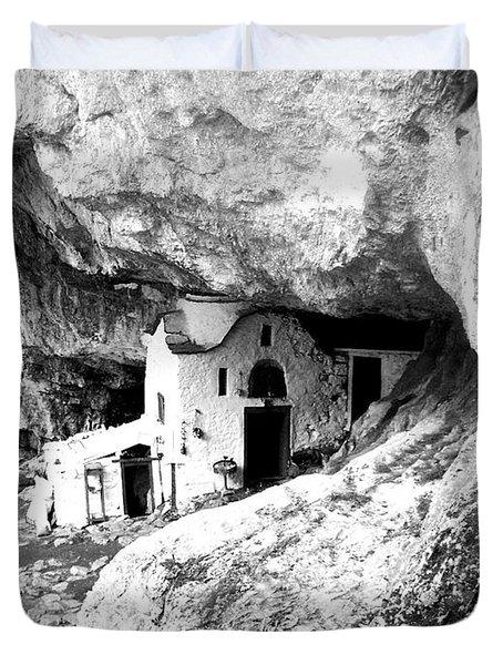 cave church on Mt Olympus Greece Duvet Cover by Nina Ficur Feenan