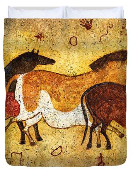 Cave Horses Duvet Cover