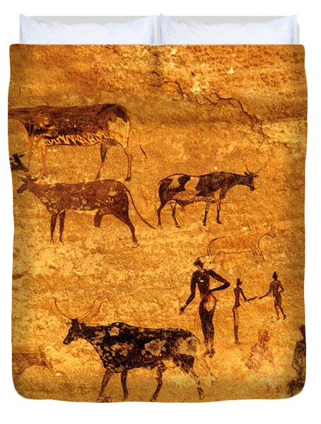 Cave Painting South Algeria Duvet Cover by George Holton