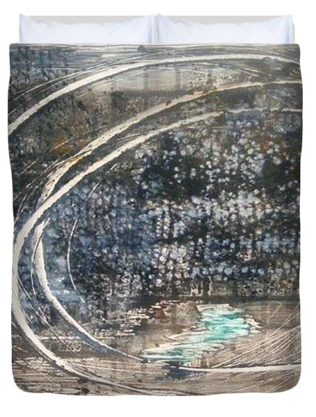 Duvet Cover featuring the painting Cavernous by Lesley Fletcher