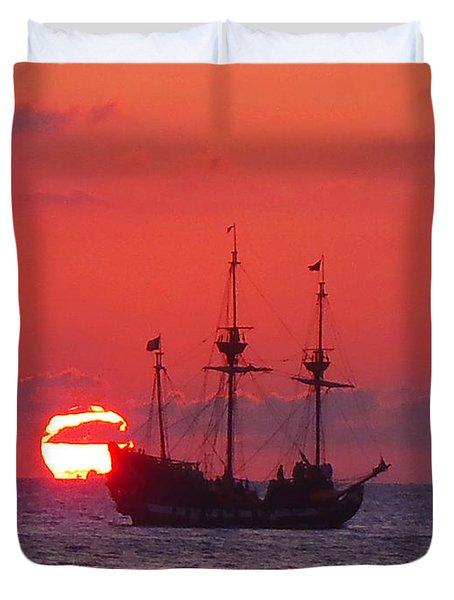 Cayman Sunset Duvet Cover by Carey Chen