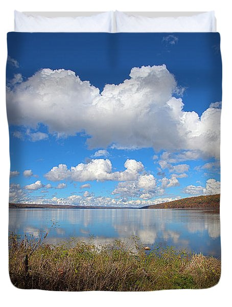 Duvet Cover featuring the photograph Cayuga Lake In Colorful Fall Ithaca New York II by Paul Ge