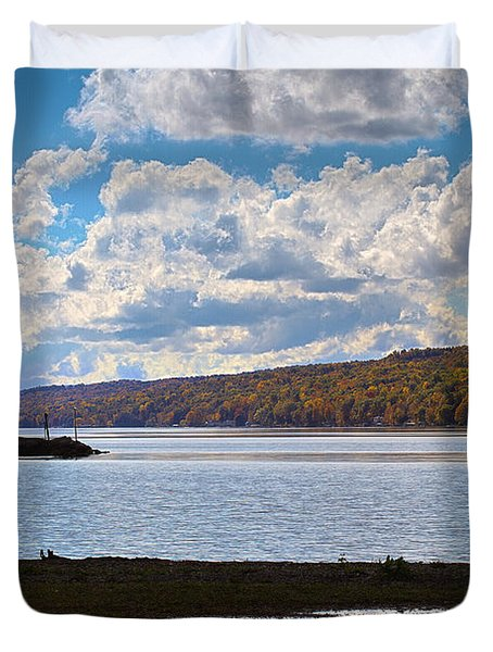 Duvet Cover featuring the photograph Cayuga Lake In Colorful Fall Ithaca New York IIi by Paul Ge