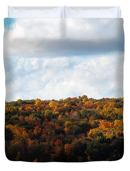 Duvet Cover featuring the photograph Cayuga Lake In Colorful Fall Ithaca New York  by Paul Ge