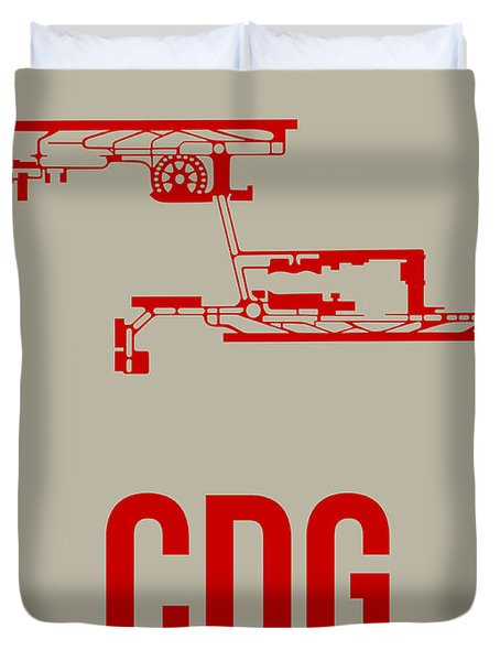 Cdg Paris Airport Poster 2 Duvet Cover by Naxart Studio