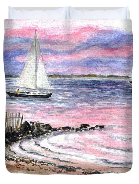 Cedar Beach Pinks Duvet Cover by Clara Sue Beym