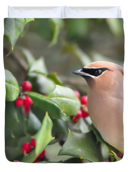 Cedar Waxwing In Holly Tree Duvet Cover