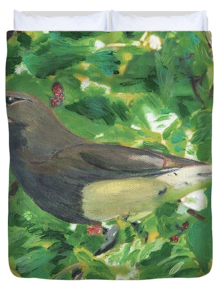 Cedar Waxwing Eating Mulberry Duvet Cover