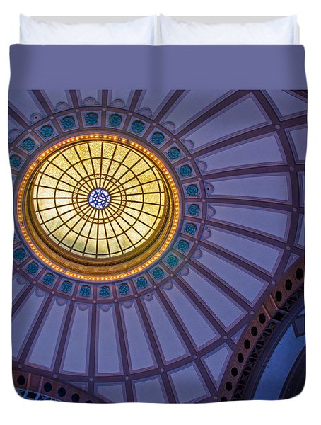 Duvet Cover featuring the photograph Ceiling In The Chattanooga Choo Choo Train Depot by Susan  McMenamin