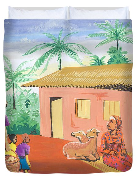 Duvet Cover featuring the painting Celebration Of The Nativity In Cameroon by Emmanuel Baliyanga
