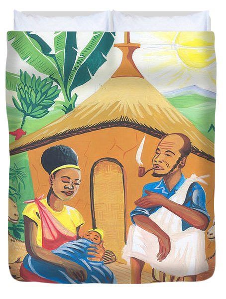 Duvet Cover featuring the painting Celebration Of The Nativity In Rwanda by Emmanuel Baliyanga