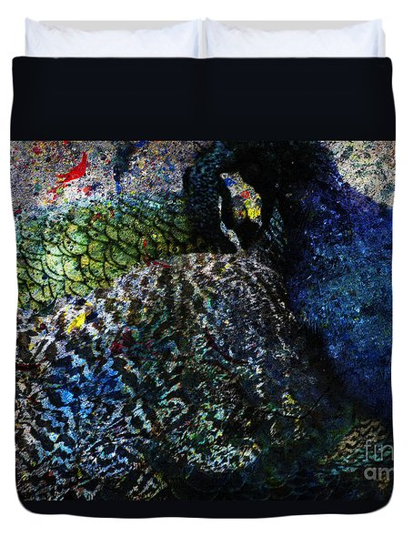 Celebration Of The Peacock #2 Duvet Cover by Nola Lee Kelsey