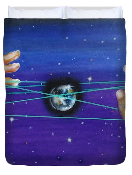 Duvet Cover featuring the painting Celestial Cats Cradle by Thomas J Herring